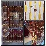 "BeadedString Natural Wood Beaded Curtain-45 Strands-72"" High-35.5"" Wide-Bohemian Door Beads-Treda"