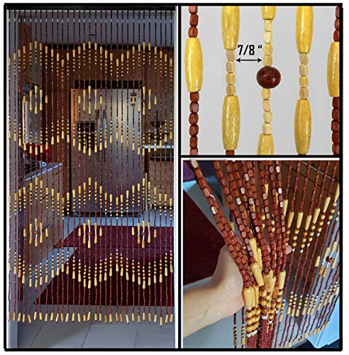 BeadedString Wood Beaded Curtain-31 Strands-72 High-Natural Wood Beaded