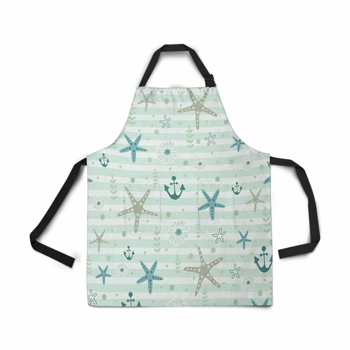 InterestPrint Adjustable Bib Apron for Women Men Girls Chef with Pockets, Sea Ocean Starfish Anchor Travel Summer Novelty Kitchen Apron for Cooking Baking Gardening Pet Grooming Cleaning
