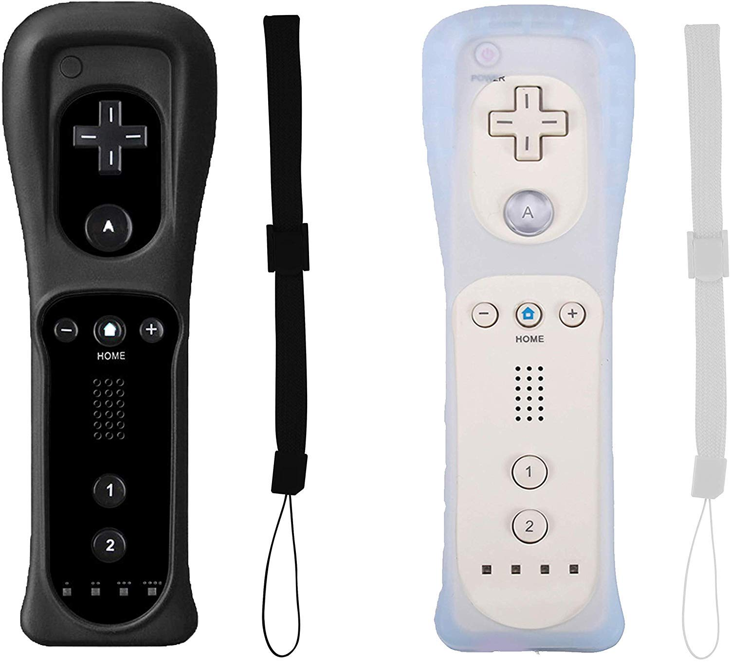 Top Souls Remote Game Controlle come with Silicone Case and Wrist Strap for Nintendo Wii and Wii U - 2Pack - White and Black