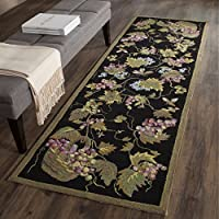Safavieh Easy to Care Collection EZC731A Hand-Hooked Black and Multi Runner (26 x 10)