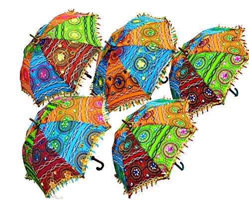 10-25 Pieces Vintage Embroidered Cotton Umbrella Indian Decor Sun Protection Parasol Wholesale Lot (Multi - -