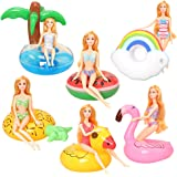 Pool Floaties for Girl Dolls, Fun Swimming Pool Party Ring Inflatable Drink Holder for11.5 inch Dolls Pool Toys