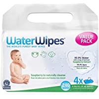 WaterWipes Hand Face Baby Wipes With Soapberry - 240 Wipes (4 Pack Of 60Count)