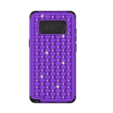 Rhinestones Bling Hybrid Phone Cover Tri-Layer Shock Resistant Flexible Silicone Cover Case For Samsung Galaxy Note 8
