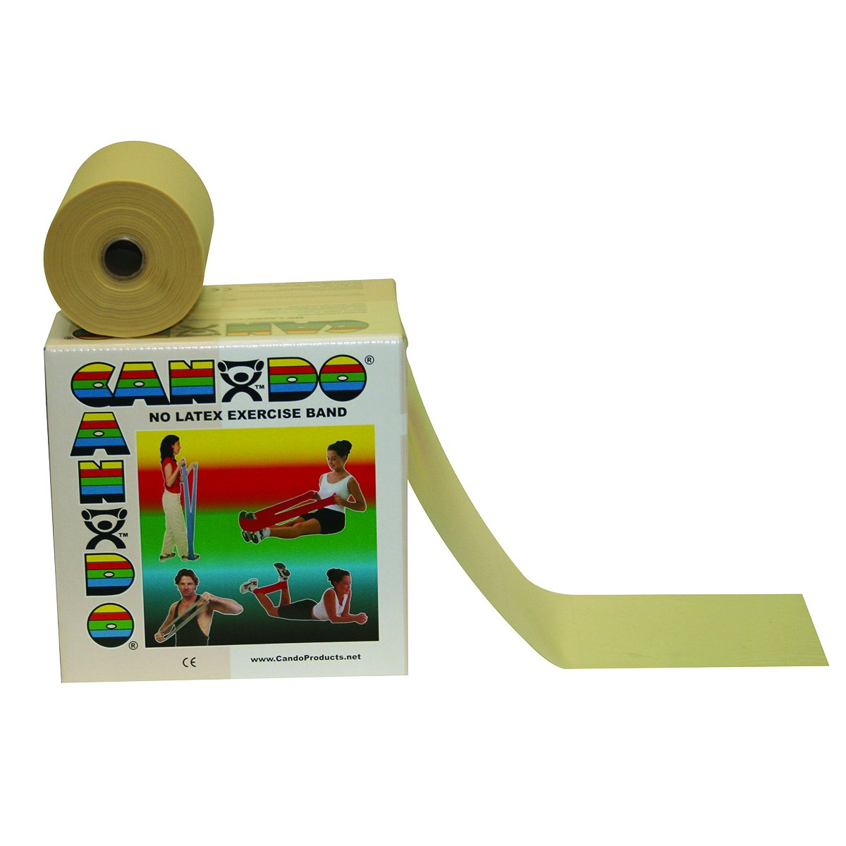 Cando 10-5620 Tan Latex-Free Exercise Band, XX-Light Resistance, 50 yd Length