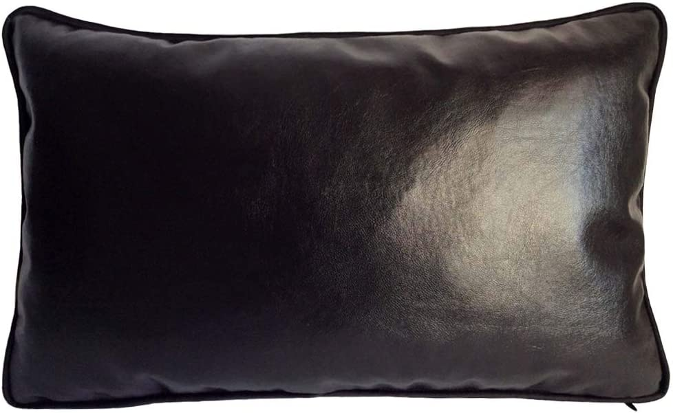 """pillowerus Imitation Leather 12""""x20"""" Inch Black Bolster Pillow Case/Cushion Cover Hand-Crafted Stitch Trendy Modern Style Decorative/Throw Lumbar for Home, Office Couch, Sofa, Bedroom"""