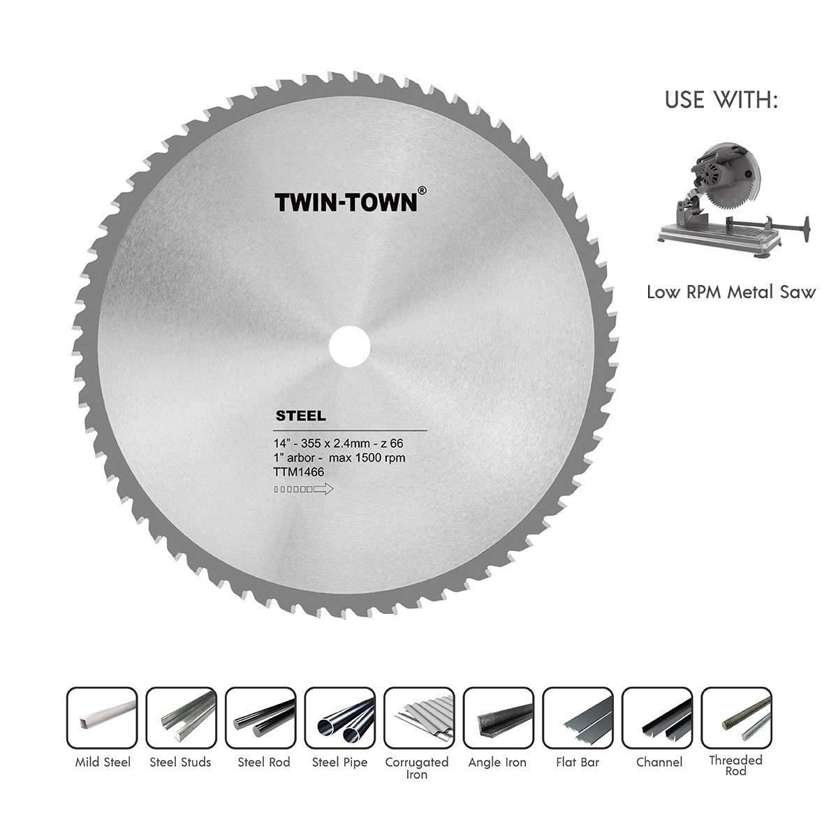 Disco Sierra TWIN-TOWN 14 x 66T de acero y metal ferroso c