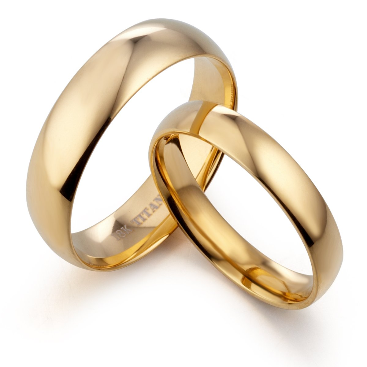 14 Women Ring Size Width 6mm /& 4mm Men Ring Size 5.5 Gemini His /& Her Dome Comfort Fit 18K Gold Filled Anniversary Wedding Titanium Rings Set