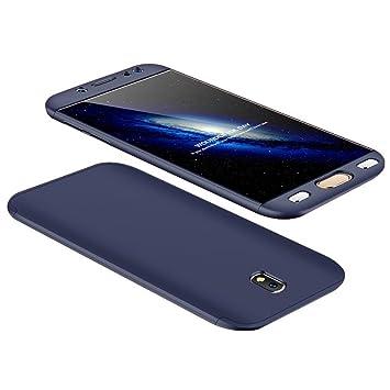 Carcasa protectora de 360 grados + protector de pantalla de cristal templado para Samsung Galaxy J5 2017. Carcasa Full Body, ultradelgada, ...