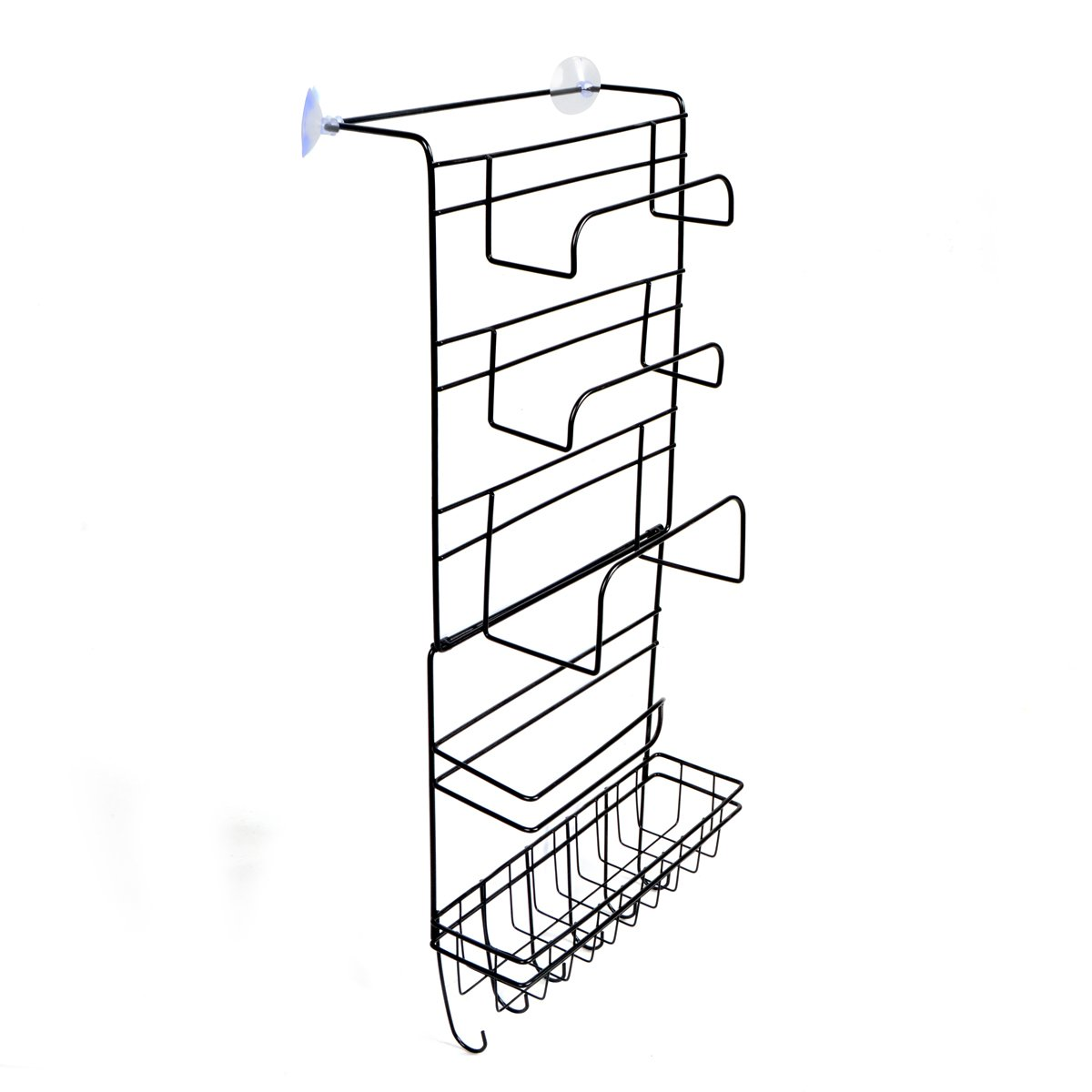 Saim Kitchen Storage Organizer Metal Basket for Aluminum Foil, Sandwich Bags, Cleaning Supplies 5-Tier(Black)