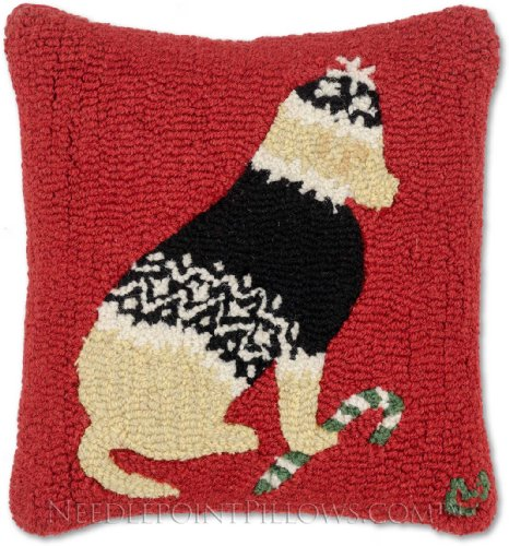 Wool Plush Sweater (Handmade Hand-Hooked Golden Retriever Yellow Lab Nordic Ski Sweater Candy Cane 100% Wool Holiday Dog Decorative Christmas Throw Pillow. 18