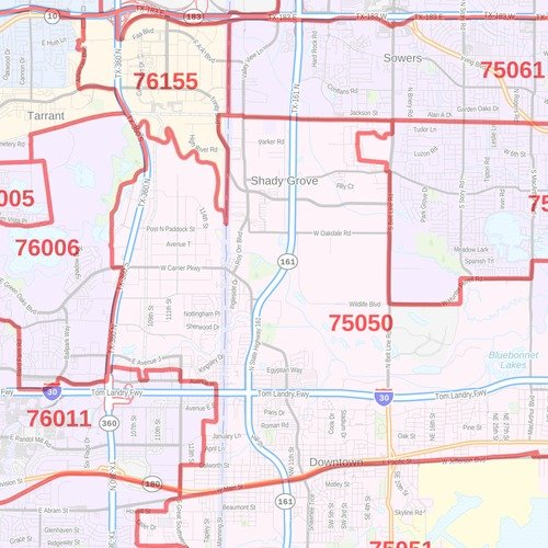 on dallas county zip code map