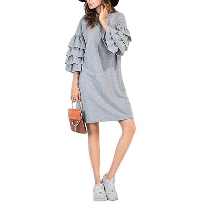 75481f41f1 Samuel Roussel Women European Style Autumn Winter Dress Tiered Ruffle  Sleeve Tunic Dress Gray S