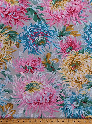Cotton Dahlias Flowers Large Floral Blossoms Blooms Gardens Botanical Philip Jacobs Spring 2015 Shaggy in Gray Cotton Fabric Print by The Yard (PWPJ072-greyx)
