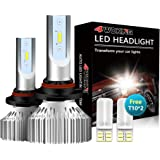 4WDKING 9005 LED Headlight Bulbs - Fanless Super Bright High Beam Fog Light 60W 8000LM 6500K Cool White Low Beam HB3 Conversi