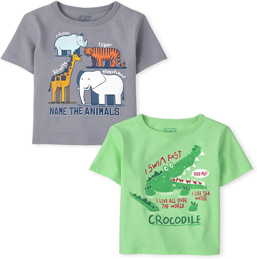 The Children's Place Baby and Toddler Boys Animals Graphic Tee 2-Pack: Clothing