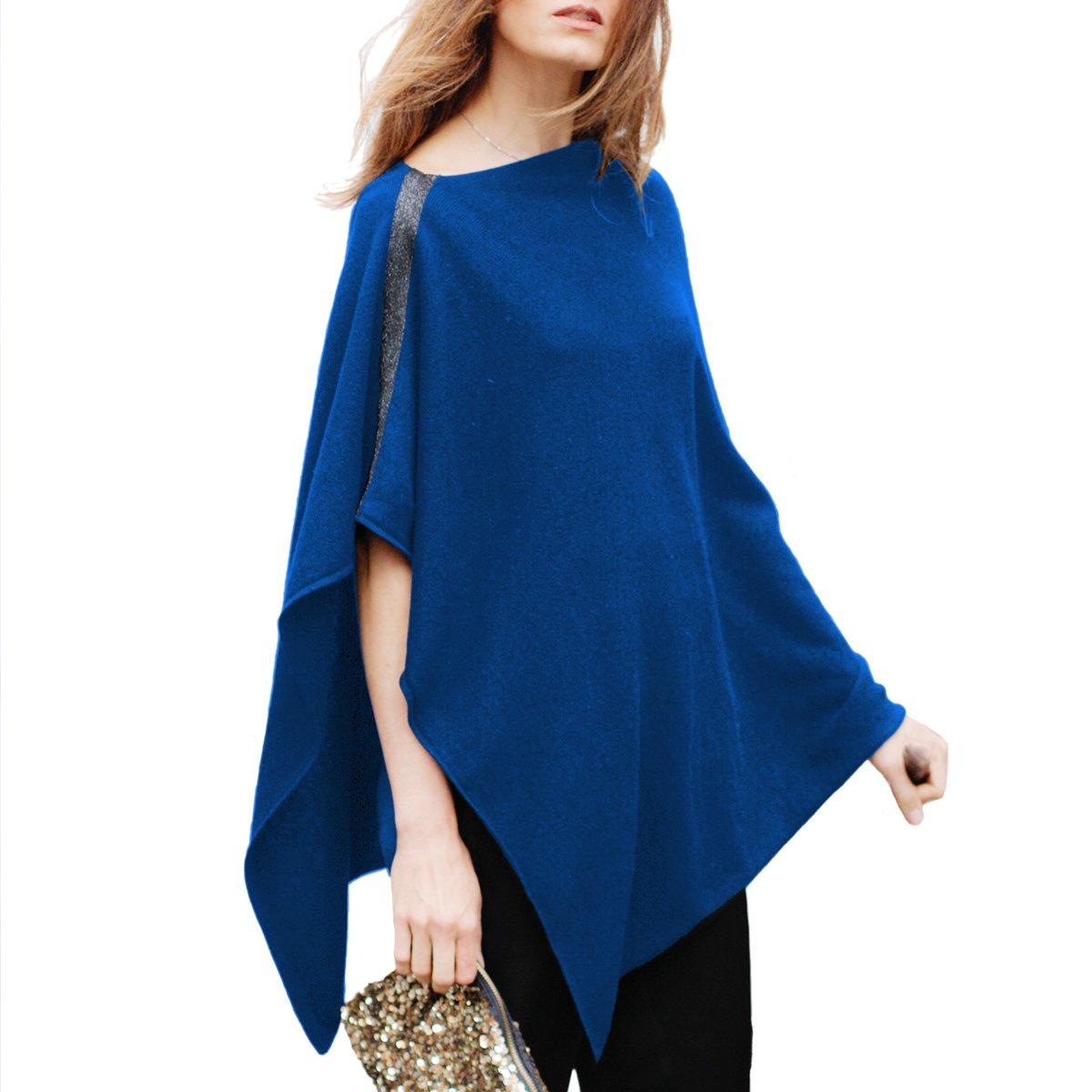 Parisbonbon Women's 100% Cashmere Pullover style Poncho Color Blue Size L by Parisbonbon