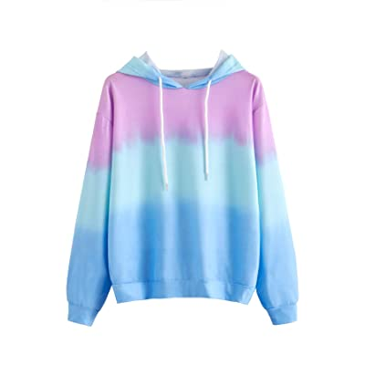 SweatyRocks Women's Color Block Lightweight Tie Dye Long Sleeve Pullover Hoodie Multicoloured XL at Women's Clothing store