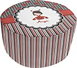 Ladybugs & Stripes Round Pouf Ottoman (Personalized)