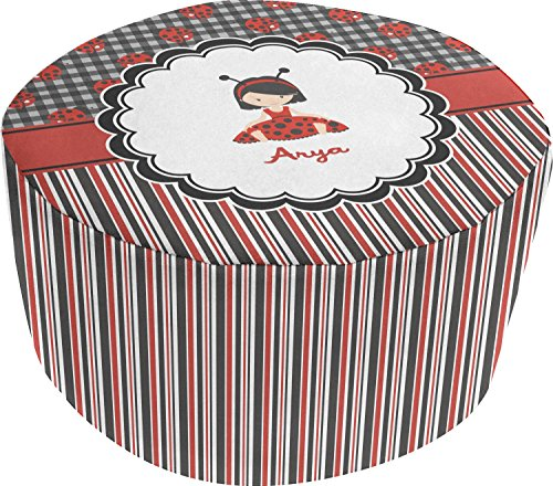 Ladybugs & Stripes Round Pouf Ottoman (Personalized) by RNK Shops