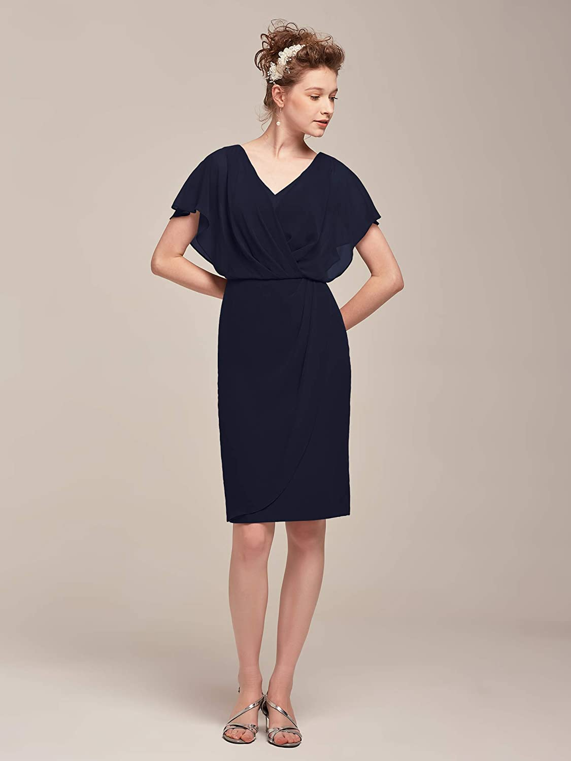 AW Mother of The Bride Dress Plus Size V-Neck Short Sleeve Formal Prom Dress for Wedding Guest Women