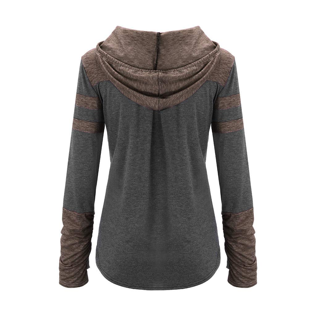 HHoo88 Women Color Stripe Block Sweatshirts Patchwork Long Sleeve Hooded Pullover Drawstring Pullover Blouse Casual Tops