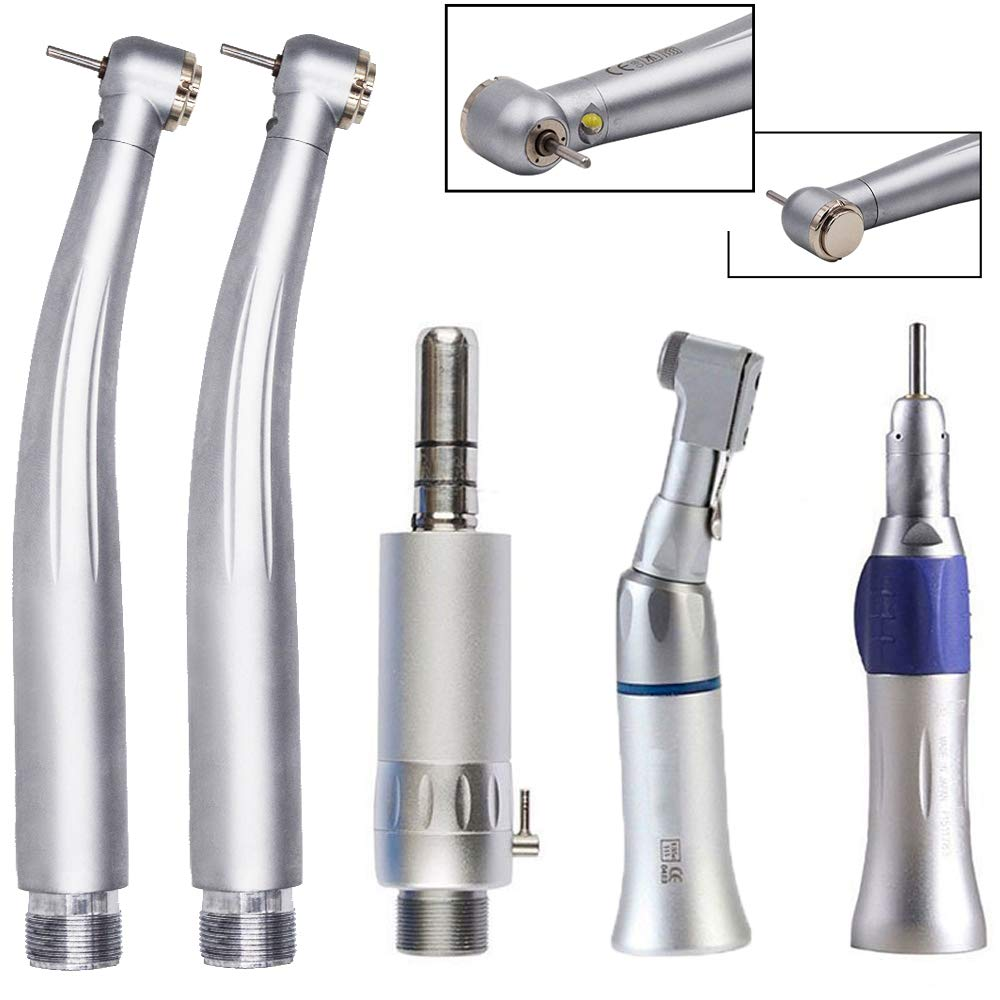 Max Style LED High Speed Hand Tool 2Holes, with Low Speed Air Motor, Straight Nose Cone Latch Type Contra Angle