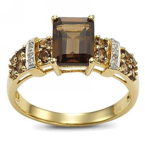 huanhuan marrón corte Esmeralda creado de la joyería mujeres Topaz Gemstone chapado en oro amarillo anillos