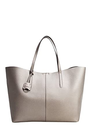 68045f9f1e MANGO - Faux-leather shopper bag - Size One size - Color Dark Silver   Amazon.co.uk  Clothing