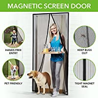 "Homitt Magnetic Screen Door with Heavy Duty Mesh Curtain and Full Frame Velcro Fits Door Size up to 34""-82"" Max, Black"