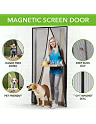 Homitt Magnetic Screen Door with Heavy Duty Mesh Curtain and ...