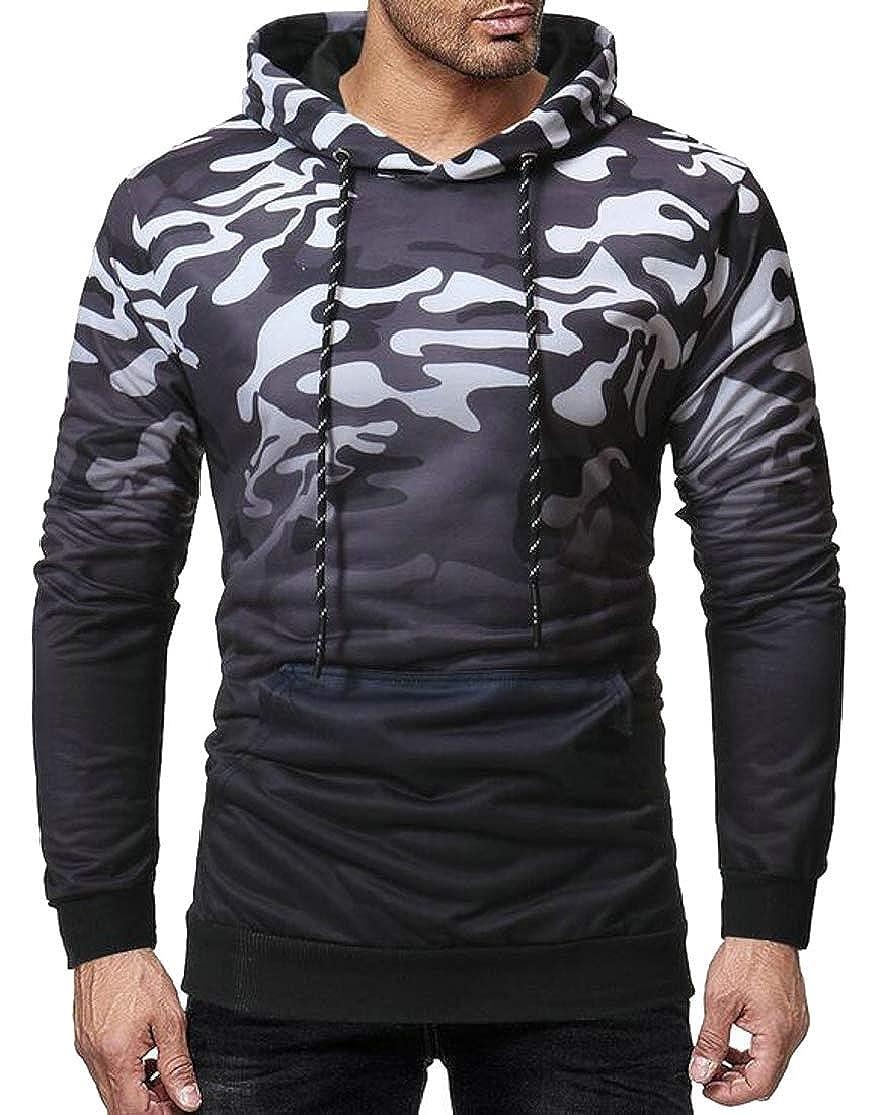 Joe Wenko Mens Popular Drawstring Cargo Stretch Ombre Floral Print Pocket Pullover Hooded Sweatshirts