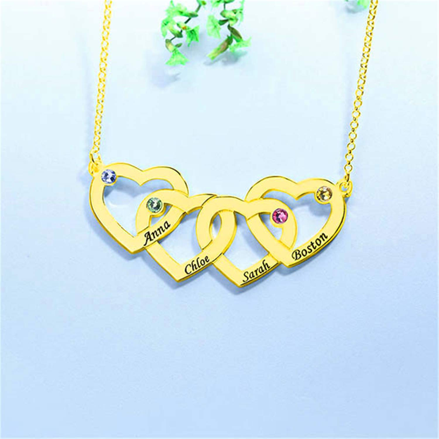 Getname Necklace Womens Personalized Intertwined Hearts with Birthstones Family Name Necklace Heart Pendent Necklace Jewelry for Mom