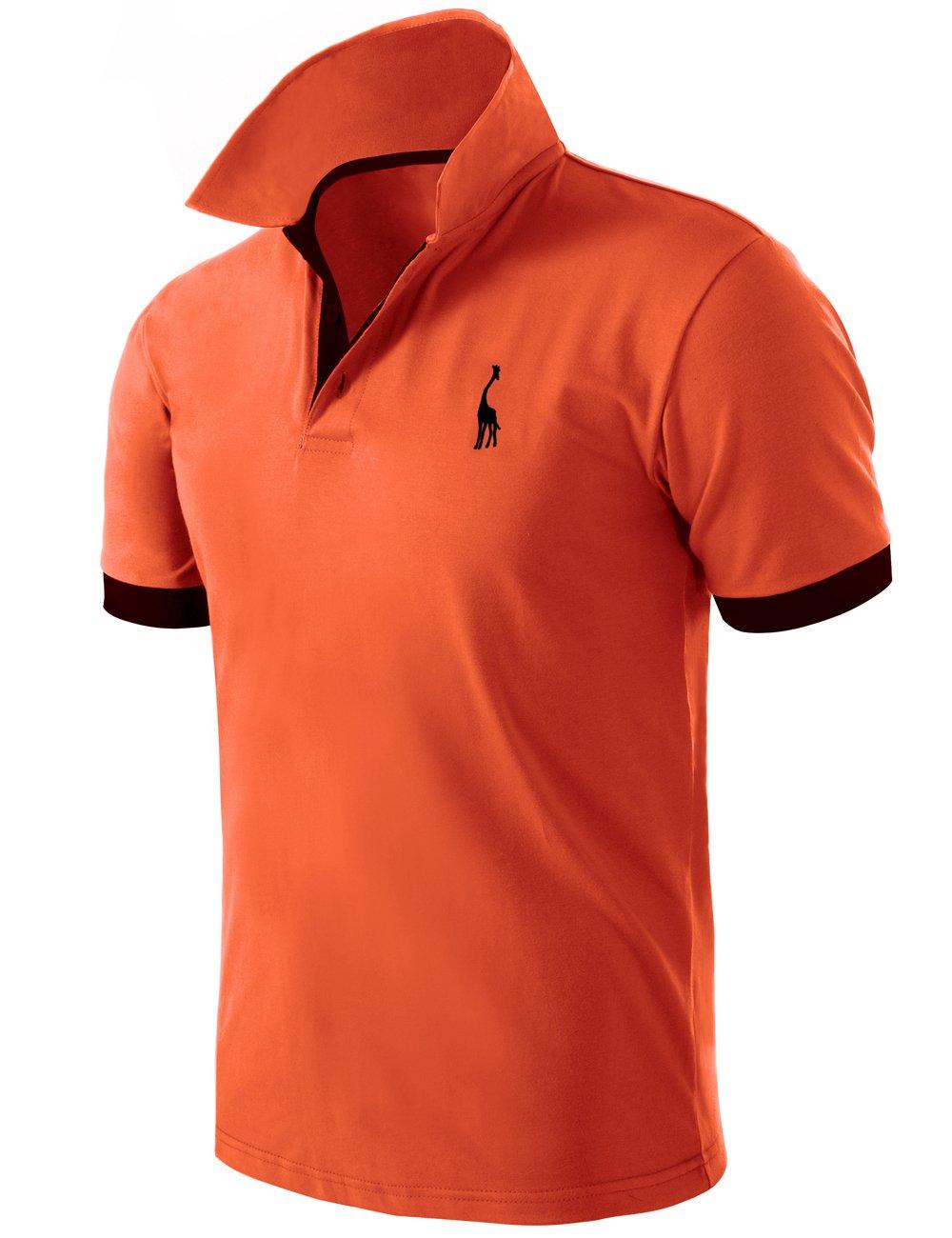 80c26506206d3 Pinkpum Mens Basic Polo Shirts Giraffe Golf Tennis T-Shirt Orange M