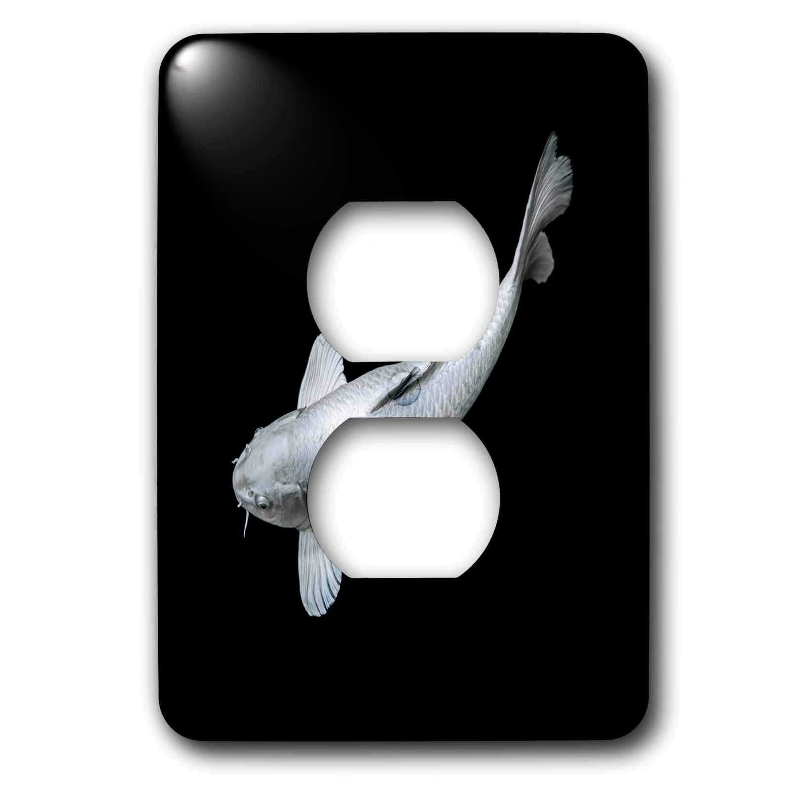 3dRose Sven Herkenrath Animal - Portrait of Silver Japanese Asia Koi Fish Photography - Light Switch Covers - 2 plug outlet cover (lsp_294937_6)