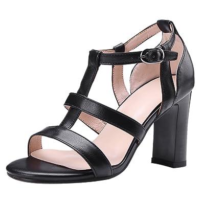 Damen Blockabsatz Pumps Riemchen Absatzschuhe Sandaletten Gladiator Sandalen 38
