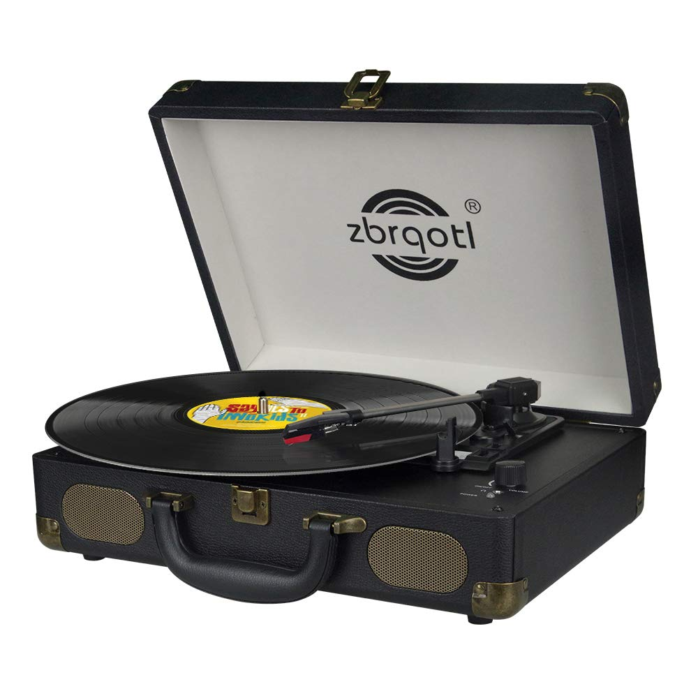 Vinyl Record Player - Vintage Suitcase Turntable 3 Speed for 7〞10〞12〞 LP Bluetooth 2 Stereo Speakers 5V 1.5A DC in Standard RCA Headphone Outputs,Black (Black) (s) by zbrqotl