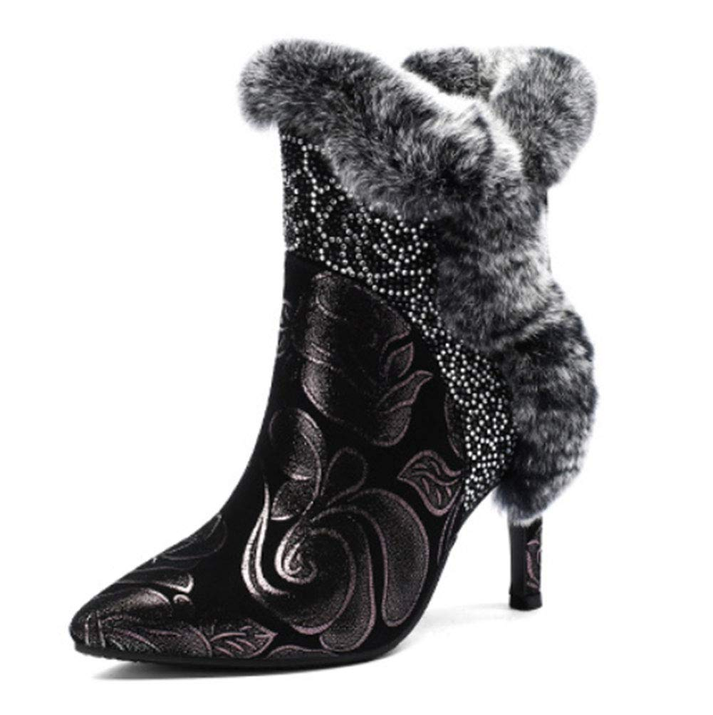 B 37EU HRN Femmes Bottes d'hiver à Talon Haut en Cuir Pointu Bottes Basses Fermeture à glissière Diahommet décoration de Fourrure de Lapin Bottes de Mode Chaudes