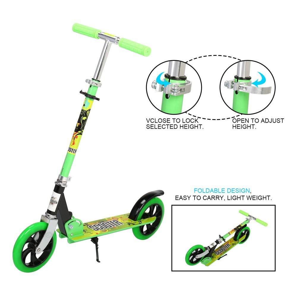 OCDAY Kick Scooter Foldable Aluminum Scooter with 2 Wheel Adjustable Height PU Wheels Best Gifts for Kids(Green)
