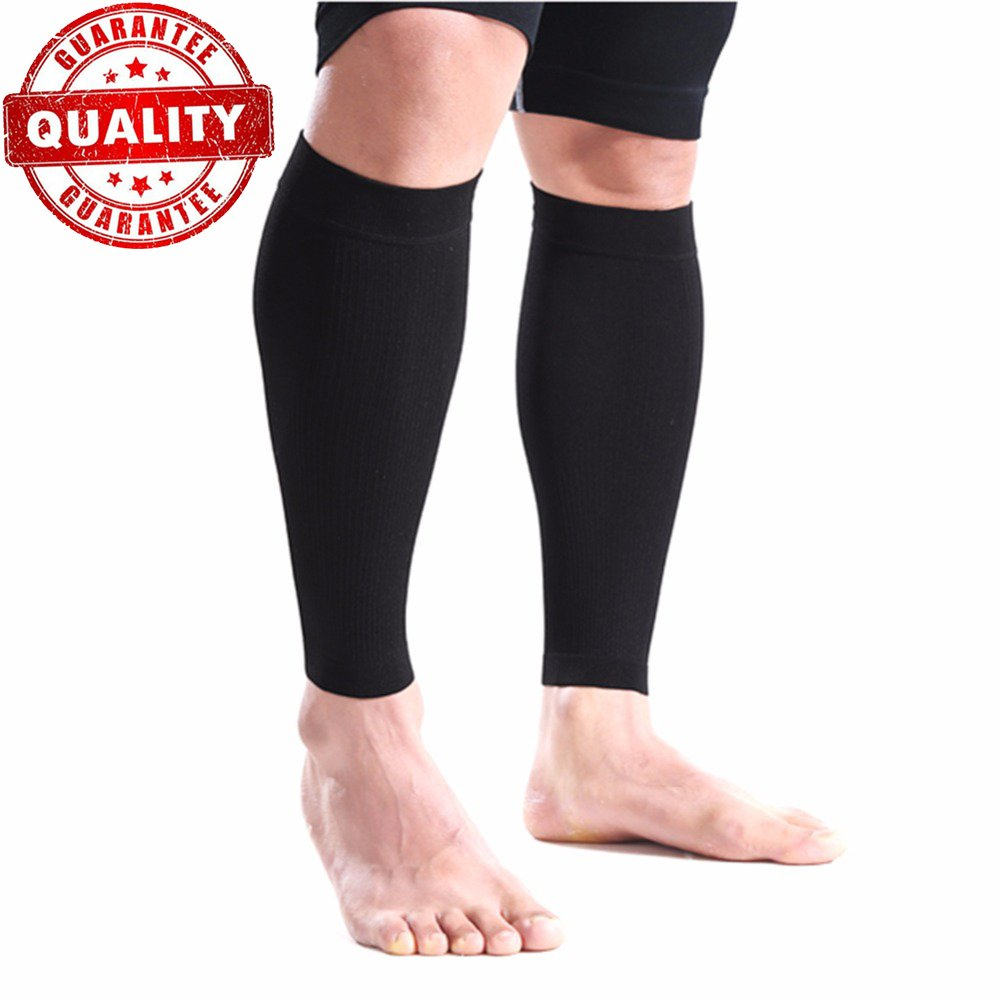 Compression Leg Sleeves for Men & Women Fit for Running, Nurses, Shin Splints, Flight Travel, Maternity Pregnancy Best Medical Graduated Black)