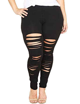 861ef00545390 XARAZA Women's Ripped Plus Size Stretch Leggings Pants with Holes at Amazon  Women's Clothing store: