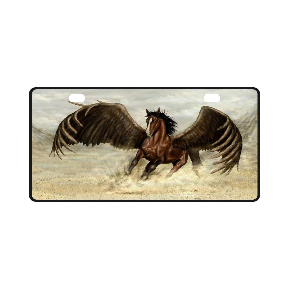 Metal License Plate Custom Car Label License Plate Pegasus Fantasy Run Painting Home Decor Wall Pendant 11.8''x6.1'' Fun Gift