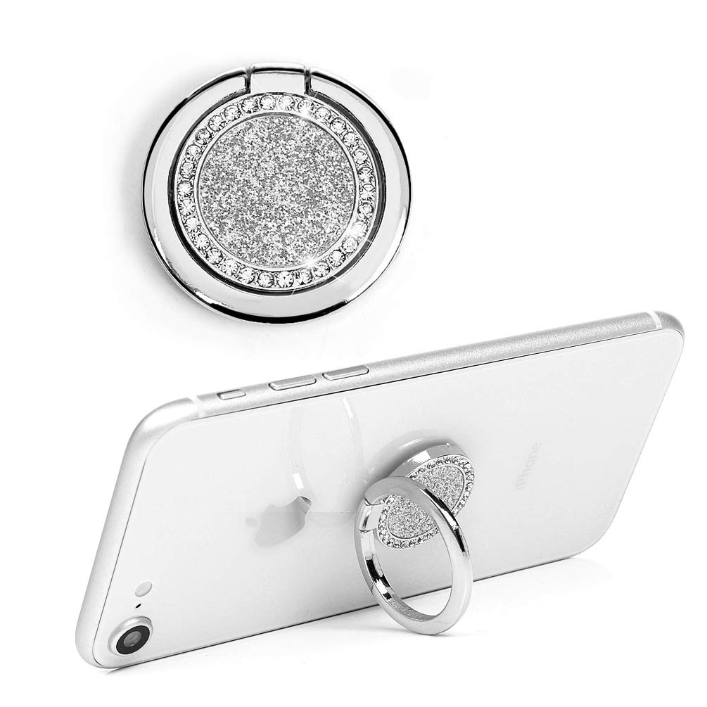 KASOS Phone Ring Stand Holder, Crystal Bling Glitter Sparkle Diamonds Rhinestone Gem Universal 360 Degree Rotation Smartphone Finger Ring Kickstand Grip Holder for Any Smartphones and Tablets - Silver by KASOS (Image #1)