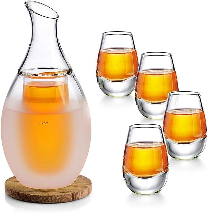 Best Gift for Family and Friends-Tea Service include 12 oz Sake Pot Beautiful set Sake Set for Cold//Warm//Shochu//Tea 4 Pieces Quaint Ceramics Wine Glasses Set 2.8 oz Sake Cups