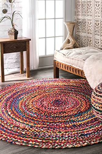 Casual Handmade Braided Cotton Round Area Rug - 8' Cotton Braided Rug