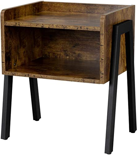 Topeakmart Industrial Nightstand End/Accent Table