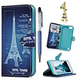 iPod Case iPod Touch 5 Case - MOLLYCOOCLE Stand Wallet Purse Credit Card ID Holders TPU Soft Bumper Premium PU Leather Ultra Slim Fit Cover for iPod Touch 5 5th Generation (Eiffel Tower)