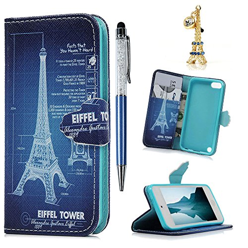 Touch 5 Case, iPod Touch 5 Case - MOLLYCOOCLE Eiffel Tower Stand Wallet Purse Credit Card ID Holders TPU Soft Bumper Premium PU Leather Ultra Slim Fit Cover for iPod Touch 5, Blue