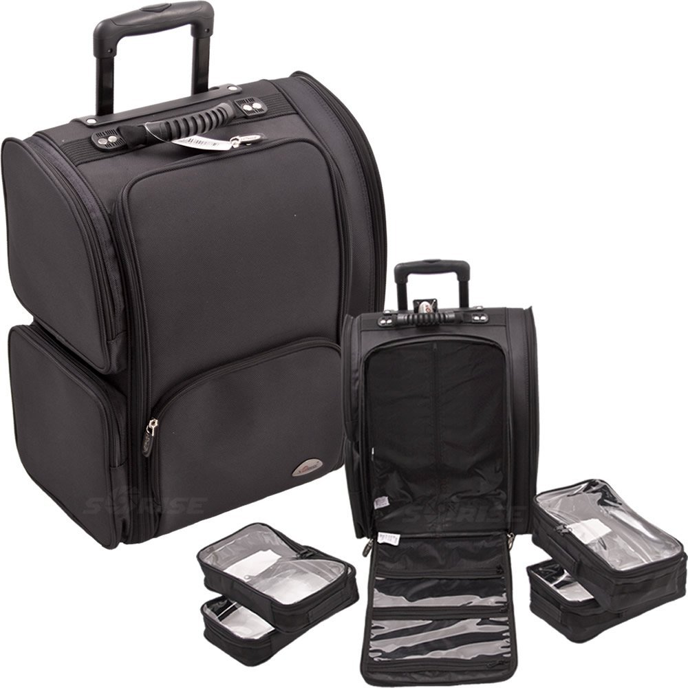 Sunrise All Black Soft_Sided Professional Rolling Makeup Case With Removable Clear Bags - C6401
